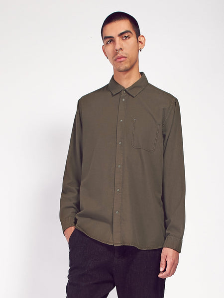 Flannel Pop Stud Shirt - Military Green by Folk