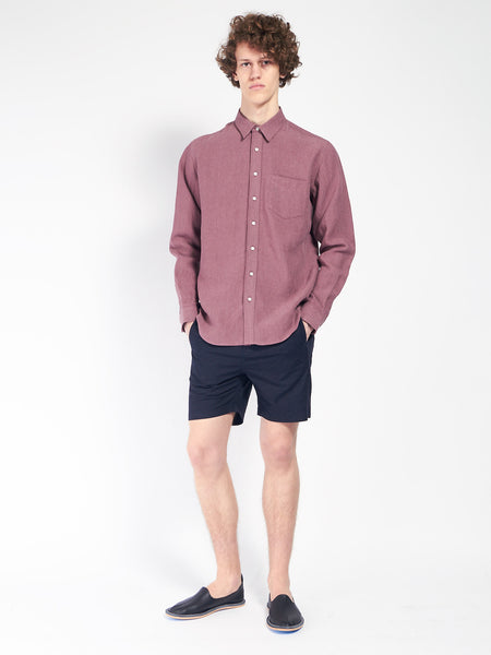 Leisure Linen Shirt Burgundy by Schnaydermans