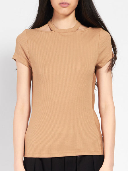 Sloane Cut Out Tee Tawny by Skin
