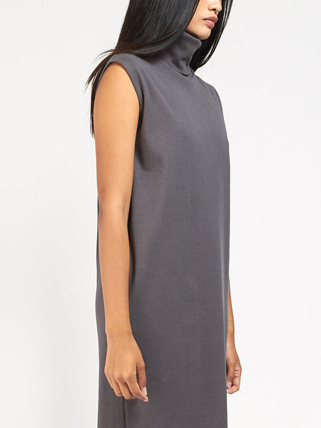Rib Roll Neck Dress Charcoal by Kowtow