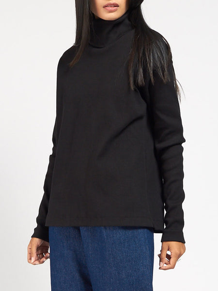 Rib Roll Neck Top by Kowtow