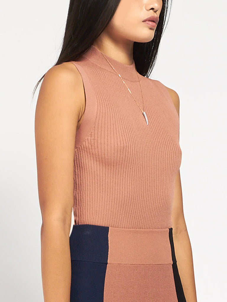 Leila Mock Neck Bisque by Pari Desai