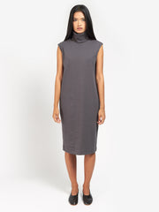 Rib Roll Neck Dress Charcoal