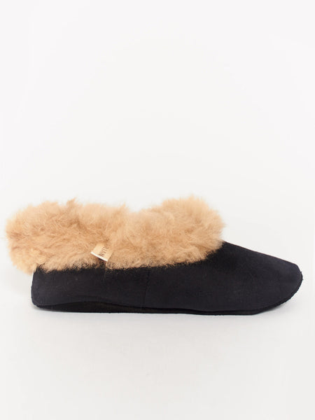 Alpaca Scuff Slippers Black by Ariana Bohling