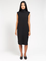 Rib Roll Neck Dress Black