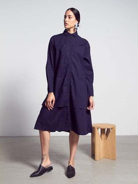 Rhyme Dress - Navy by Kowtow