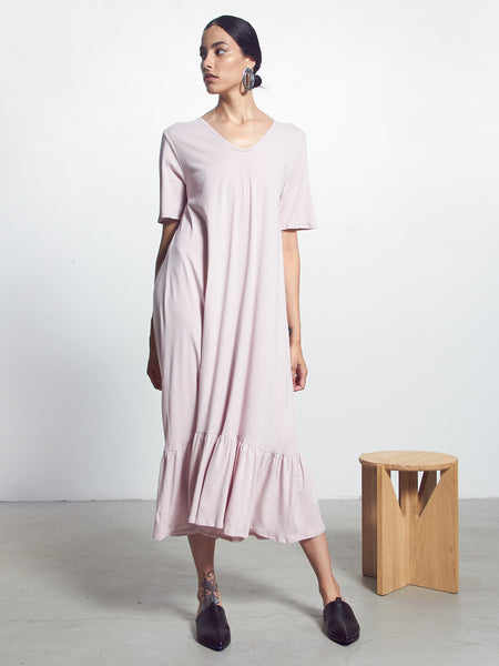 Building Block Gather Hem Dress - Powder by Kowtow