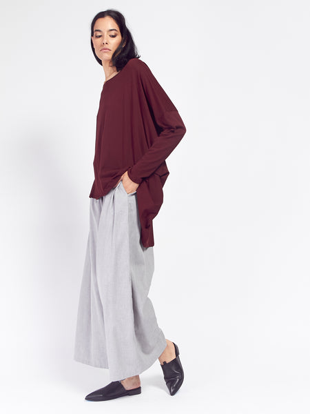 Building Block Drape Top Burgundy by Kowtow