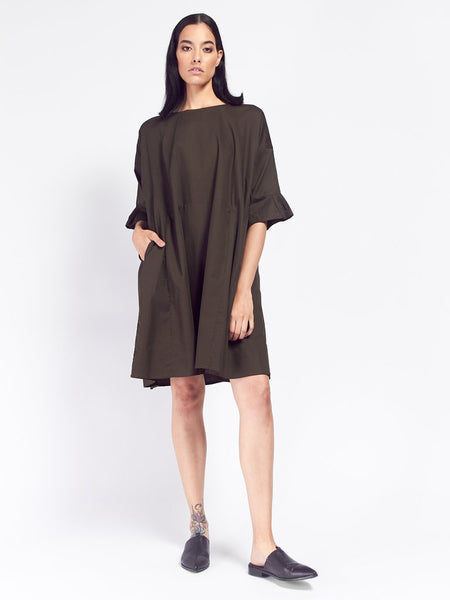 Shutter Dress - Dark Moss by Kowtow
