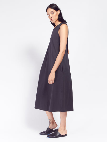 Building Block Twist Back Dress - Charcoal by Kowtow