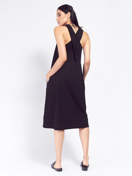 Building Block Twist Back Dress - Black by Kowtow