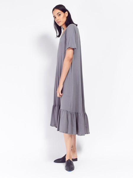 Building Block Gather Hem Dress - Dove Grey by Kowtow