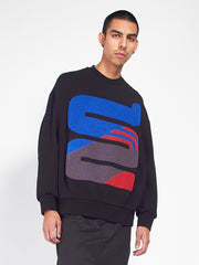 Chenille Whoop Sweat - Black