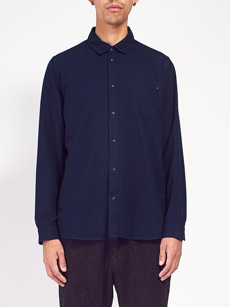 Flannel Pop Stud Shirt - Navy by Folk