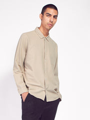 Flannel Pop Stud Shirt - Sand