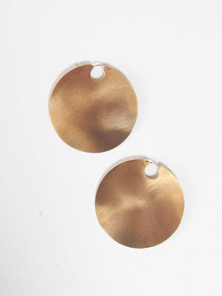 Disc Hoops Brass by Lila Rice