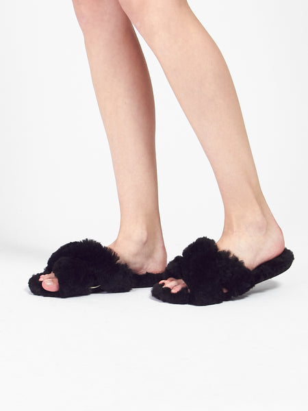 Criss Cross Slides Black by Ariana Bohling