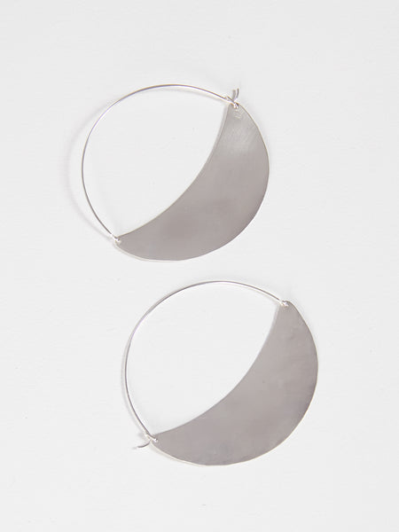 Crescent Hoops Large Silver by Lila Rice