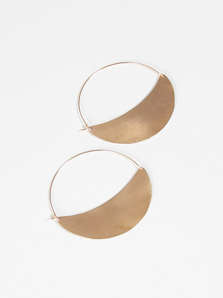 Crescent Hoops Large Brass by Lila Rice