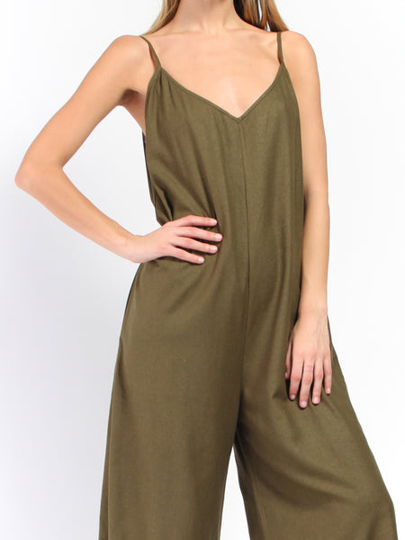 V-Neck Jumper - Olive by Ali Golden