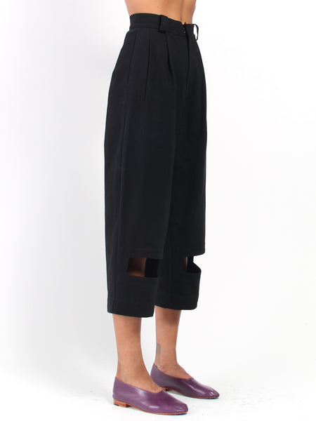Rectangle Cutout Denim Trousers - Black by Nancy Stella Soto