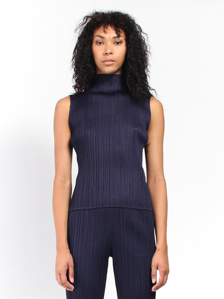 Pleats Shell Top - Navy by Issey Miyake Pleats Please