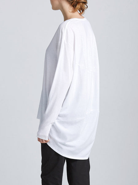 Drape Back Top White by Kowtow