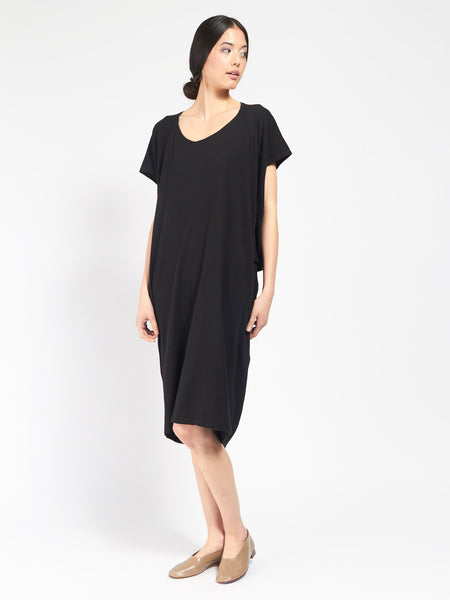 Building Block Drape Dress Black by Kowtow