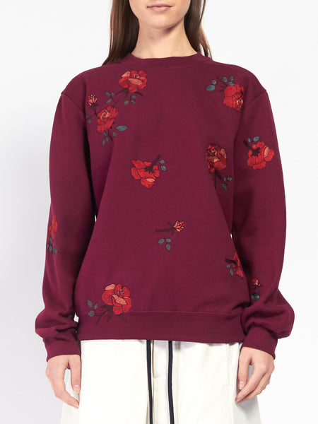 Rose Embroidered Sweatshirt by Pari Desai