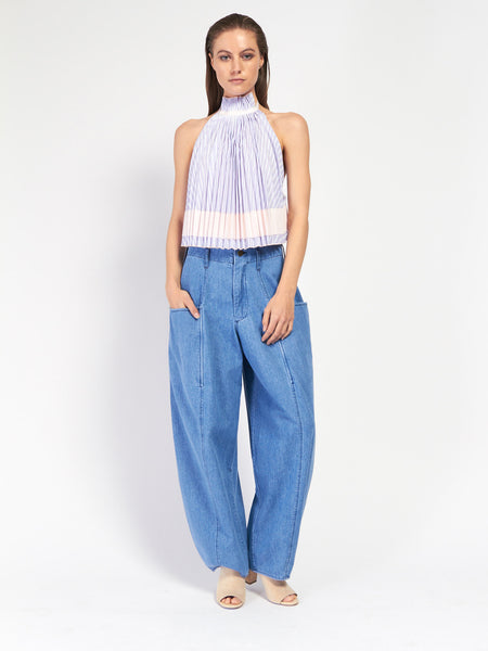 Backless Pleated Trapeze Top by Adam Selman