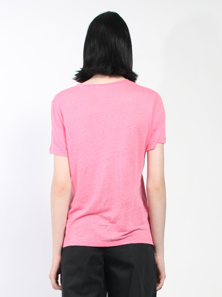 Ninja Linen Tee - Strong Pink by Rodebjer