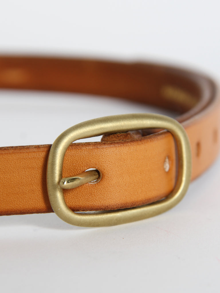 Slim Oval Belt - Light Brown/Brass by Maximum Henry