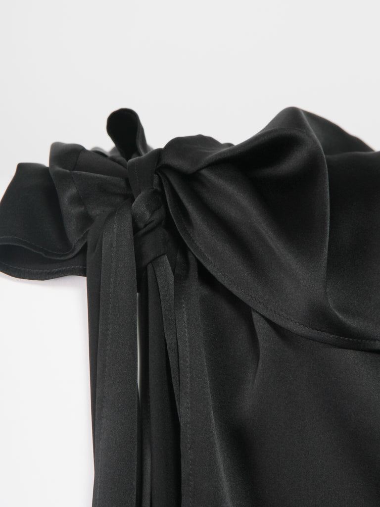 Lyonnaise Wrap Tie Top - Black by Index Series