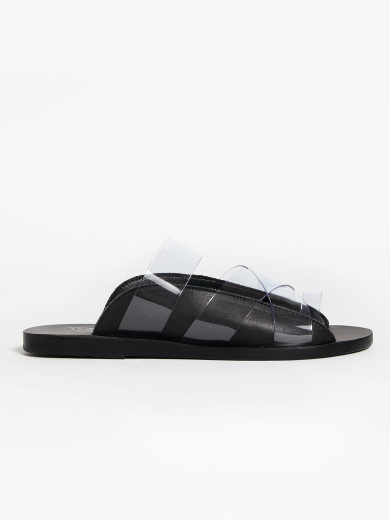 Clear Evi Slides, Black/Clear by Ancient Greek Sandals