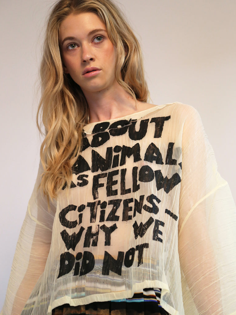 Anntian - Animal Typo Breeze Silk T-Shirt by Anntian