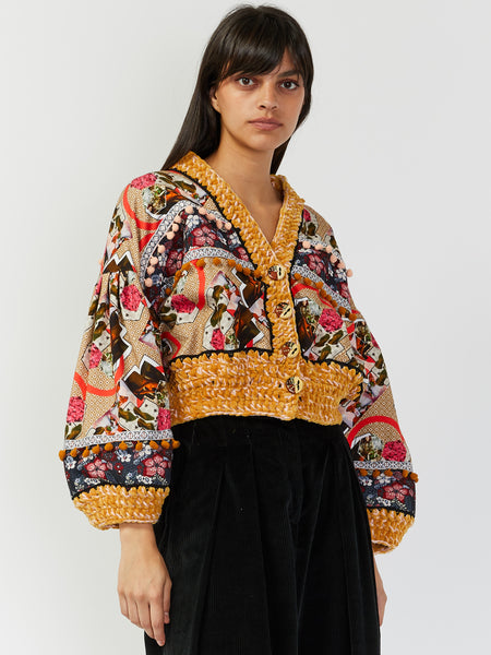 Cropped Patchwork Cardigan by Tata Christiane