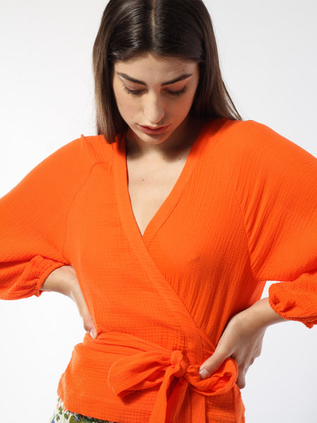 Saliha Crinkle Wrap Top by Rodebjer