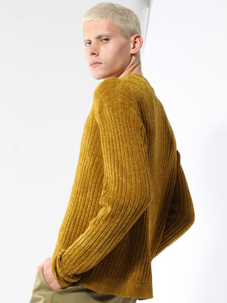 Gold Rib Chenille Crew by Deveaux