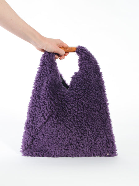 Small Furry Triangle Bag - Grape by MM6 Maison Margiela