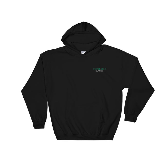 pictoratus hoodie with embroidered text (green/white)