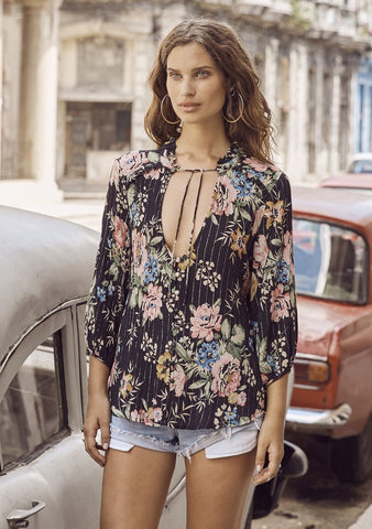 Auguste 'Delilah Boho Blouse' in Bloom Black