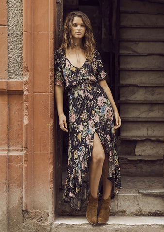 Auguste 'Delilah Frilled Maxi Dress' in Bloom Black