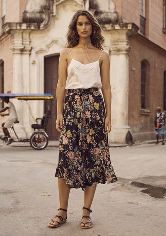Auguste 'Delilah Frilled Midi Skirt' in Bloom Black