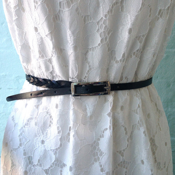 Swan Emporium Skinny Woven Leather Belt With Rectangular Buckle - Three Colours