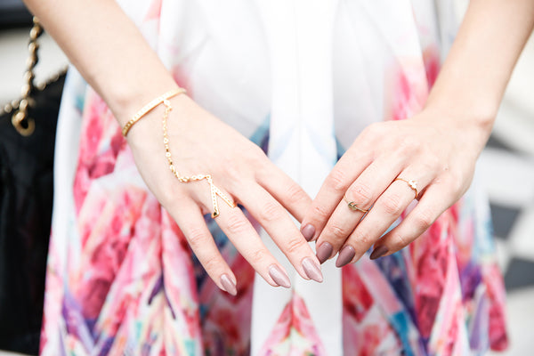 "18ct yellow gold Little ""Quote Un-Quote"" Rings as styled by Anisa Sojka"