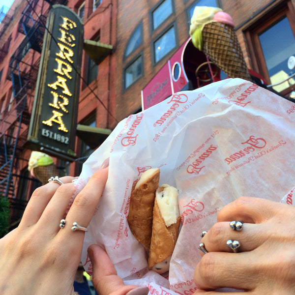 Eating Cannolis in Little Italy wearing our Polished Little B'Os & B'Os Rings