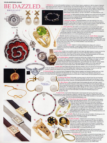 Tatler UK advertorial featuring our Cross Pearl Earrings
