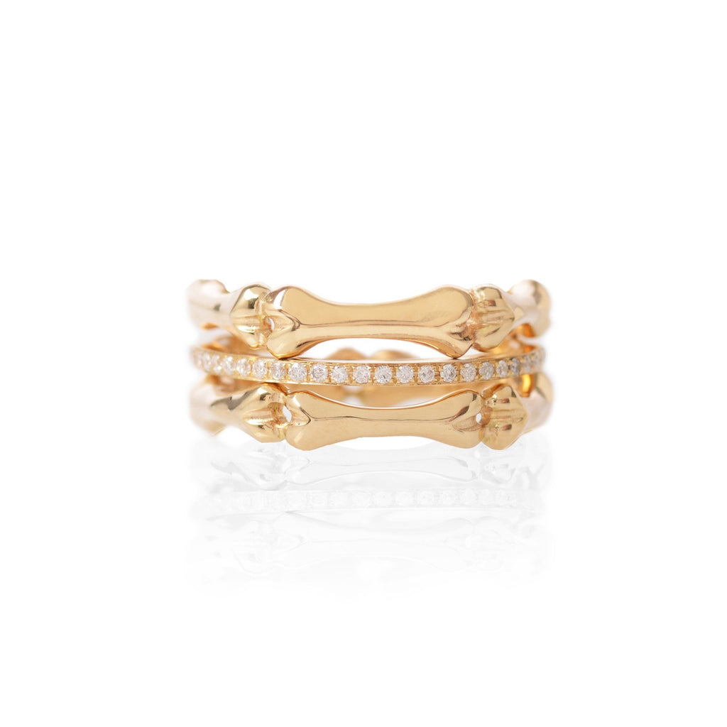 18ct Gold Little Phalanx and Yellow Gold Diamond Stack by McFarlane Fine Jewellery