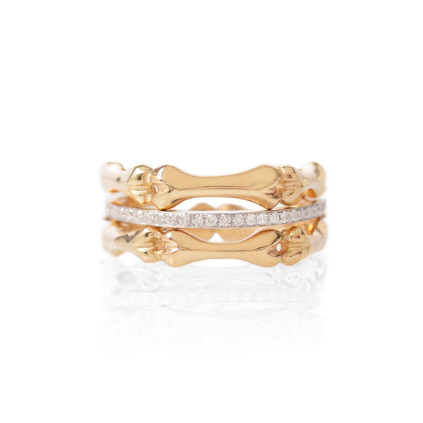 Gold Little Phalanx & White Gold Diamond Stack