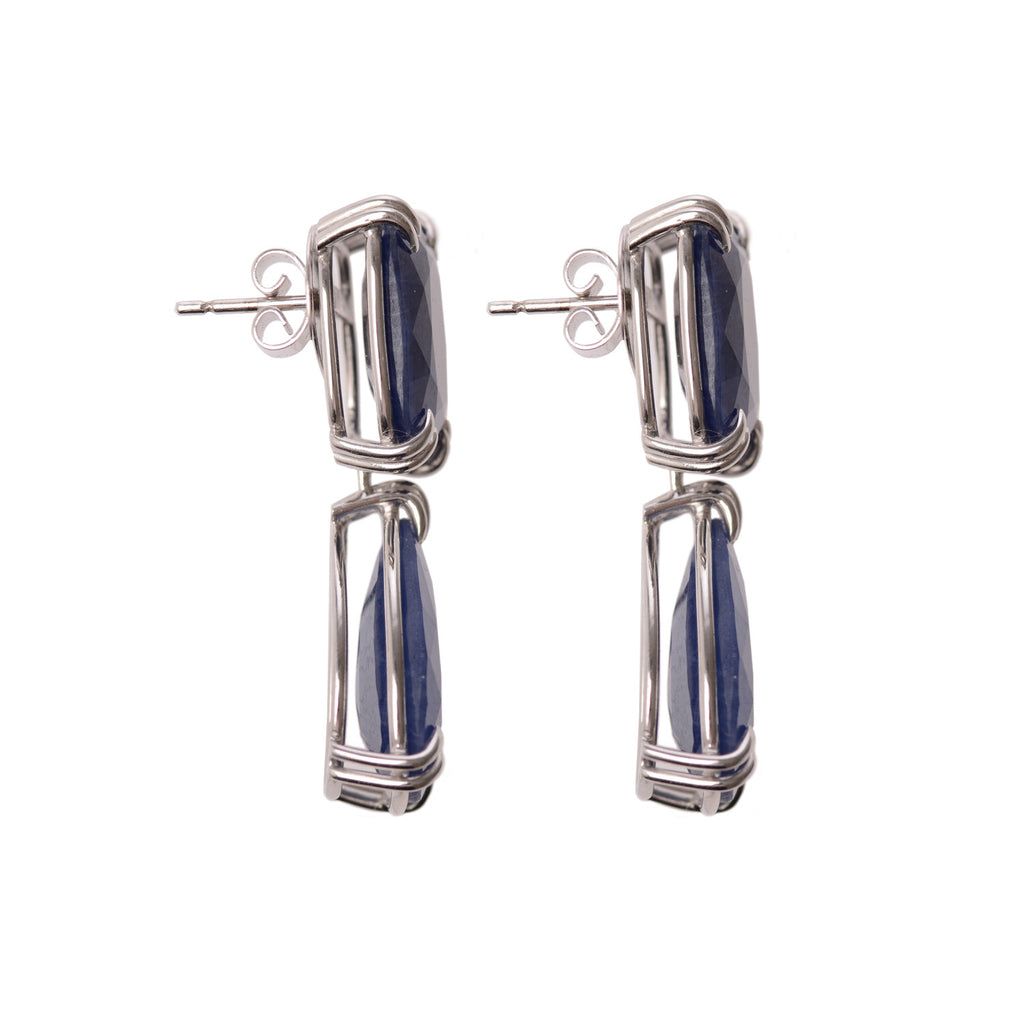 Blue Sapphire Earrings in 18ct white gold side view by McFarlane Fine Jewellery
